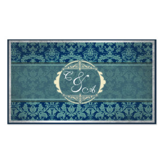 Navy Vintage Damask Wedding place card Business Card Template
