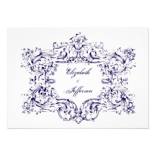 Navy Vintage Frame Wedding Invitations
