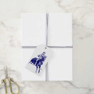 Navy Vintage Woman Equestrian Steeplechase Rider Gift Tags