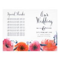 Navy Watercolor Floral Wedding Program Booklet 8.5