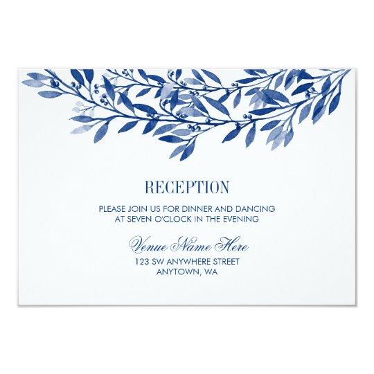 Navy Watercolor Laurel Wreath Wedding Reception Card