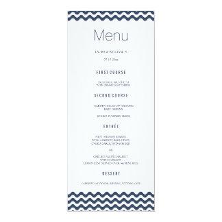 Navy Wave Chevron Wedding Dinner Menu Cards 10 Cm X 24 Cm Invitation Card