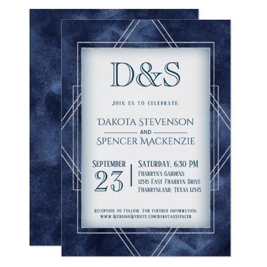 Navy Wedding | Blue Geometric Watercolor Matte | Card