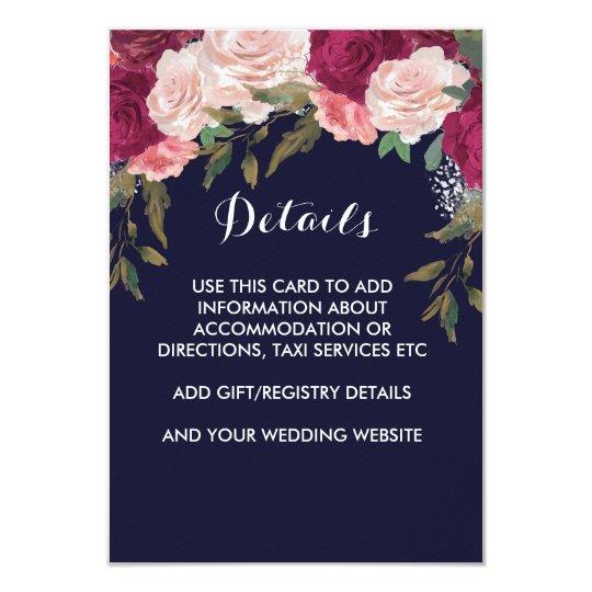 Navy wedding details card pink burgundy floral