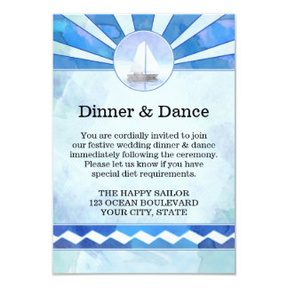 Navy Wedding Directions and Accommodations Insert 9 Cm X 13 Cm Invitation Card