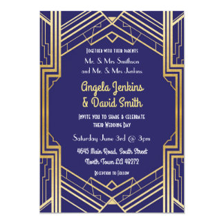 Navy Wedding Invitation 1920's Gold Art Deco