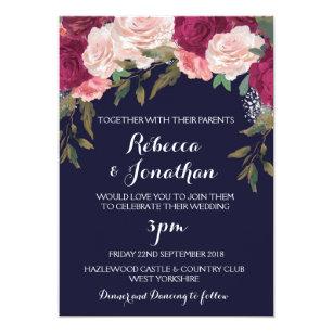 navy and pink wedding invitations zazzle co uk