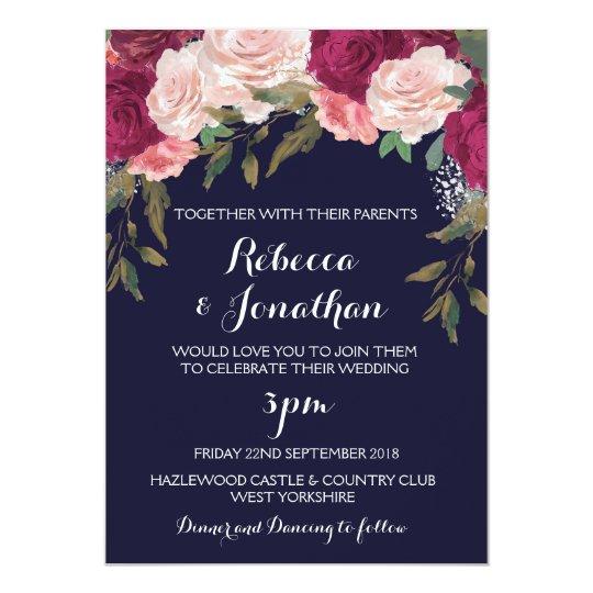 Navy Wedding Invitation Burgundy Pink Floral