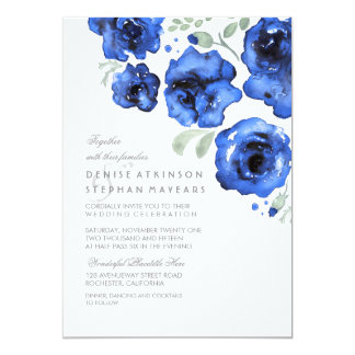 Navy Wedding - Watercolor Roses Card