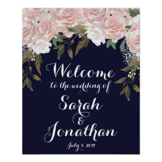 Navy wedding welcome sign pink flowers
