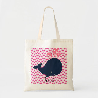 Navy Whale on Pink Chevron Stripes Custom Bag