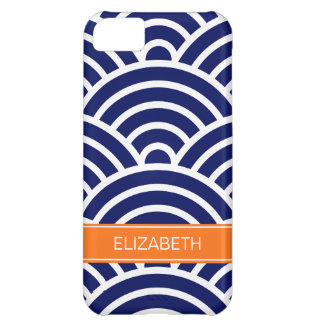 Navy White Art Deco Arches Pumpkin Name Monogram iPhone 5C Case