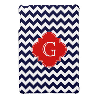 Navy White Chevron Red Quatrefoil Monogram iPad Mini Covers