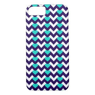 NAVY/WHITE CHEVRON TEAL HEARTS iPHONE 7/8 CASE