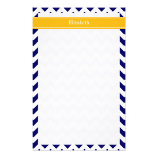Navy White Chevron ZigZag Goldenrod Name Monogram Stationery