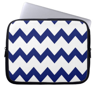 Navy White Chevrons Electronics Bag Laptop Sleeves