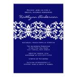 Navy & White Damask Bridal Shower Invitation 13 Cm X 18 Cm Invitation Card