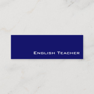 English teacher business cards business card printing zazzle uk navy white english teacher business cards reheart Gallery