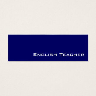 Navy white English Teacher business cards