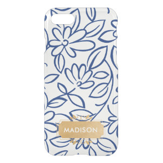 Navy White Floral Doodle with faux gold name plate iPhone 8/7 Case