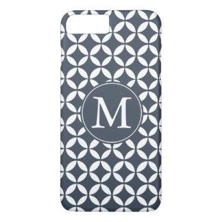 Navy White Geometric Circles Monogram iPhone 8 Plus/7 Plus Case