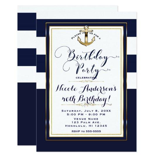 Navy White & Gold Anchor Nautical Birthday Party