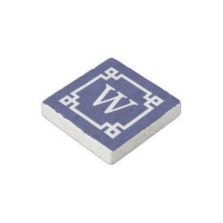 Navy White Greek Key Frame 2 Initial Monogram Stone Magnet