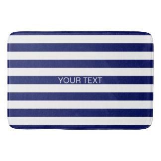 Navy White Horizontal Preppy Stripe Name Monogram Bath Mat