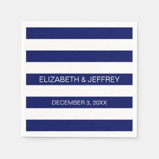 Navy White Horizontal Preppy Stripe Name Monogram Disposable Serviettes
