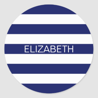 Navy White Horizontal Preppy Stripe Name Monogram Round Sticker