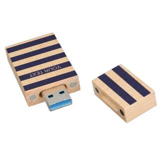 Navy White Horizontal Preppy Stripe Name Monogram Wood USB 3.0 Flash Drive