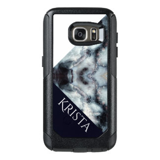 Navy&White Marble texture w Colorblock & Name OtterBox Samsung Galaxy S7 Case