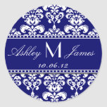 Navy White Monogram Damask Save the Date Stickers