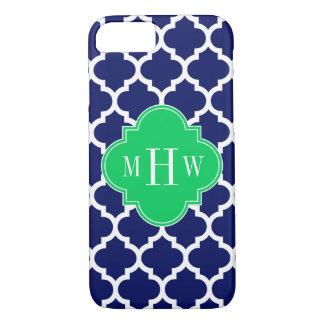 Navy White Moroccan #5 Emerald 3 Initial Monogram iPhone 8/7 Case