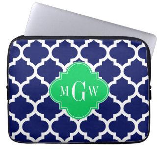 Navy White Moroccan #5 Emerald 3 Initial Monogram Laptop Sleeve