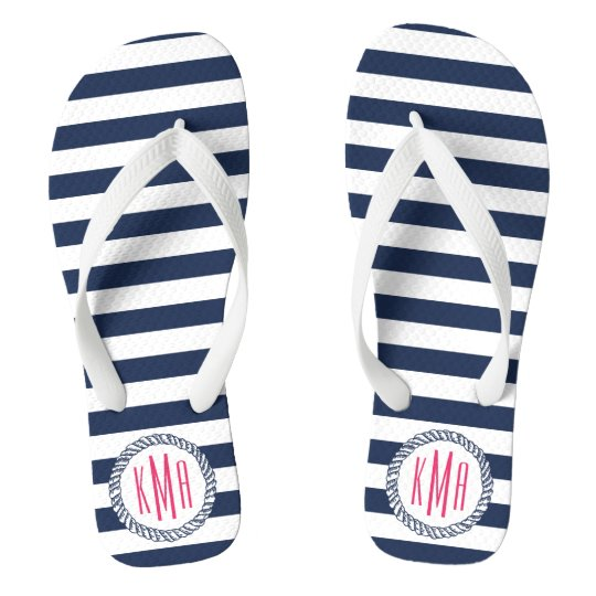 Navy & White Nautical Stripe w/ Pink Monogram