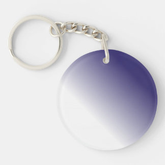 Navy White Ombre Double-Sided Round Acrylic Key Ring