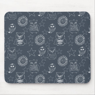 Navy White Owls Mouse Pads