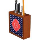 Navy White Polka Dot Coral Quatrefoil Monogram Desk Organiser
