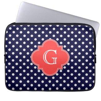 Navy Polka Dot Laptop Sleeve