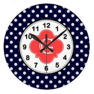 Navy White Polka Dot Coral Quatrefoil Monogram Wall Clock