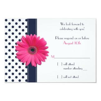 "Navy White Polka Dot Pink Daisy Wedding RSVP Card 3.5"" X 5"" Invitation Card"
