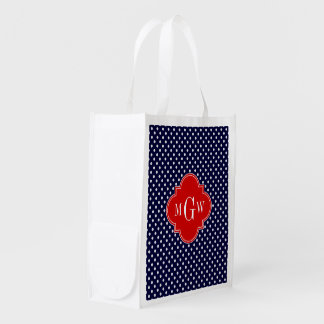 Navy White Polka Dot Red Quatrefoil 3 Monogram Reusable Grocery Bag