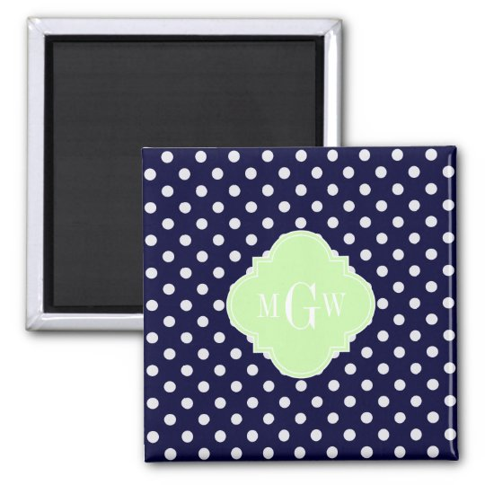 Navy White Polka Dots Celery Quatrefoil 3 Monogram Square Magnet