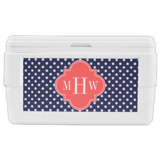 Navy White Polka Dots Coral Quatrefoil 3 Monogram Chest Cooler
