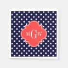 Navy White Polka Dots Coral Quatrefoil 3 Monogram Disposable Napkin