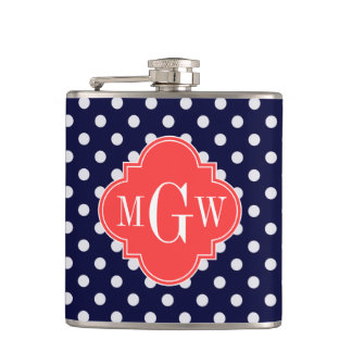 Navy White Polka Dots Coral Quatrefoil 3 Monogram Hip Flask