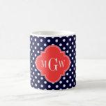 Navy White Polka Dots Coral Quatrefoil 3 Monogram Coffee Mugs