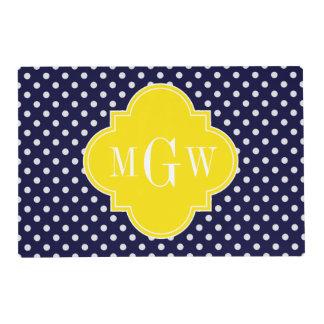 Navy White Polka Dots Yellow Quatrefoil 3 Monogram Laminated Placemat