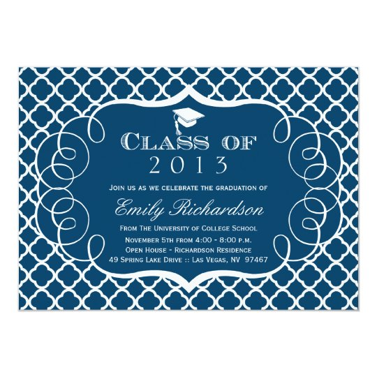 Navy + white quatrefoil graduation announcement